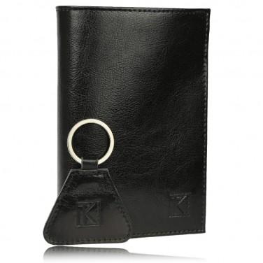 Ensemble Portefeuille et Porte-Clés Homme cuir noir TK264 14,5 x 11 cm (boite)
