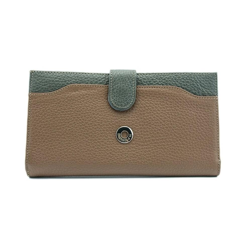 Portefeuille pour femme 100% Cuir graine Grand porte-monnaie Porte-clés