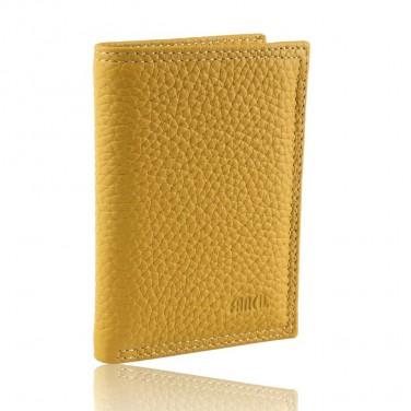 Cadeau/Achat utile - Porte cartes/billets cuir gariné Jaune