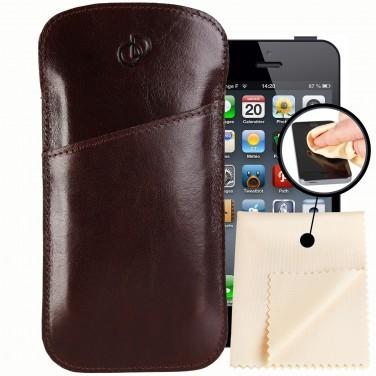 Etuis iPhone 7, étui pochette 100% Cuir + lingette Microfibre, Housse Etui portefeuille
