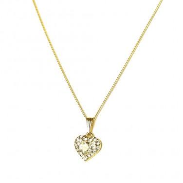 Collier Pendentif Coeur plaqué Or Cristaux - Bijoux fantaisie -449