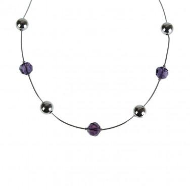 Collier Femme chaine Argent 925/1000 Cristaux violet - SOLDES