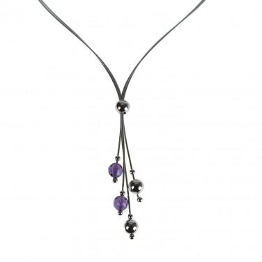 Collier Argent 925 Perles Cristaux - Bijoux argent - 489