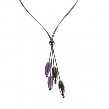 Collier argent 925 Perles olives Cristaux - Bijoux argent - 490