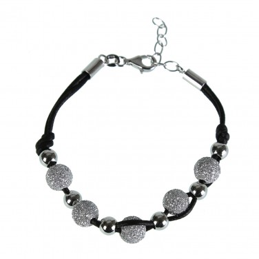 Bracelet Femme fantaisie Fil noir Argent 925/1000 Perles paillette argentée - Soldes