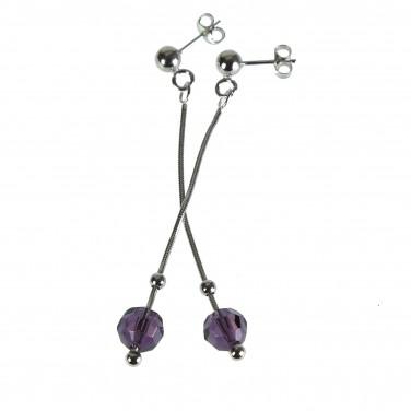 Boucles d'oreilles femme pendantes en argent 925/1000 Cristaux - Soldes
