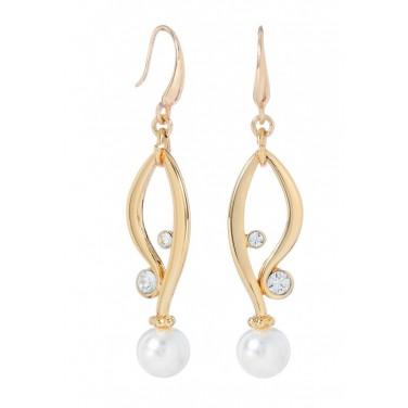 Jolie boucles d'oreilles goutte d'eau perles plaqué or - Bijoux mode