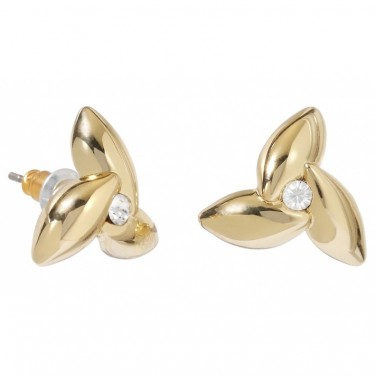Bijoux - Boucles d'oreilles plaque or fleur poli cristal Swarovski 597