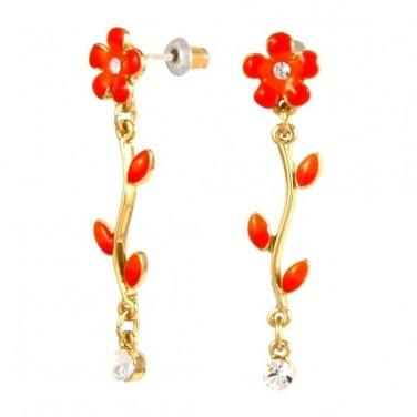 Boucles d'oreilles fleur rouge - Plaque or 24 carats - Cristaux Swarovski 588