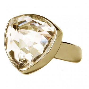 Bague plaque Or 24 carats - Cristal Swarovski - Bijoux Tendance 627 T 59 mm (18.8)