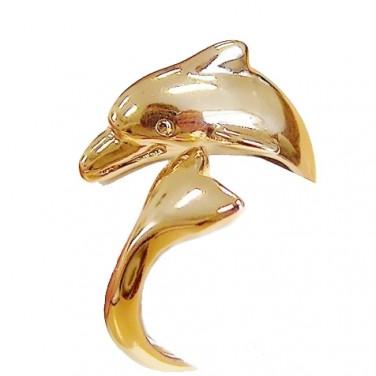 Bague Dolphin plaque Or jaune 24 carats. taille ajustable - Olivia Bijoux 50-60 MM AJUSTABLE
