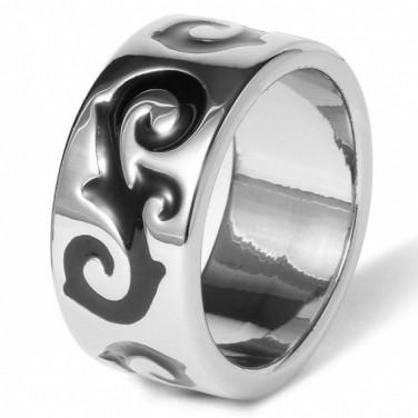 Bijoux mode - Bague anneau plaque or 24 carats motif blanc 624 T 56 mm (17.2)