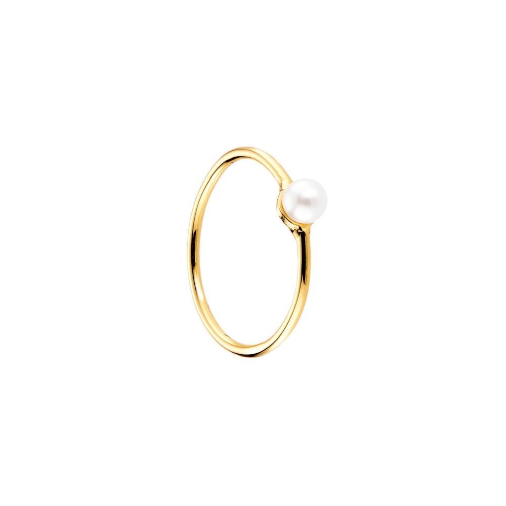 Bague plaque Or jaune Perle blanc Bijou N994 57 mm (17)