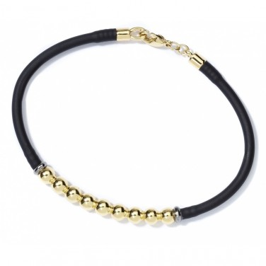 Bracelet tendance Cautchouc noir Plaqué Or 24 carats N999