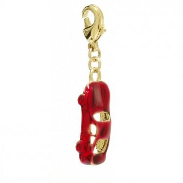 Charm voiture rouge plaqué Or 24 carats Bijoux 997