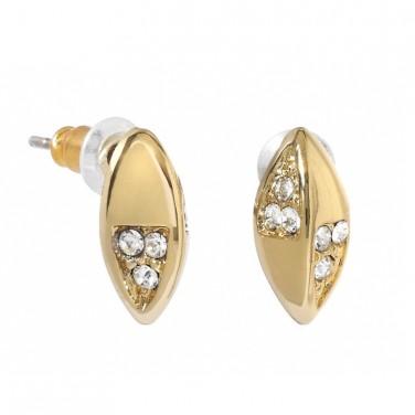 Boucles d'oreilles coccinelle plaqué or jaune cristaux Swarovski 601
