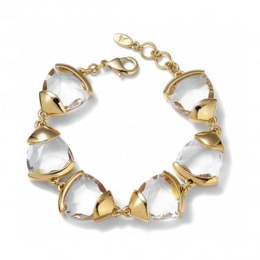 Bracelet design Cristaux Plaqué Or jaune 24 carats N579