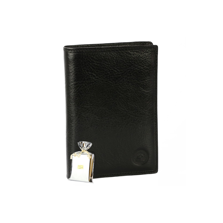 Leather Wallet - Portefeuille cuir noir - Homme / Femme - PACK Emballage Cadeau Noël, une Fête, un Anniversaire