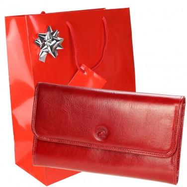 Portefeuille Cuir + Porte-clés + Emballage / PACK S5661 cadeau femme Noel