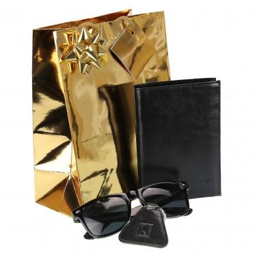 PACK Cadeau Portefeuille homme cuir noir+porte-clés+lunettes / 15x11 TK1979 RFID, Noël Anniversaire