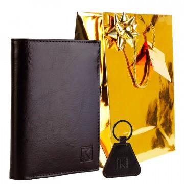 Pack Cadeau Homme / Portefeuille cuir + Porte-cles + Emballage / Noël Anniversaire