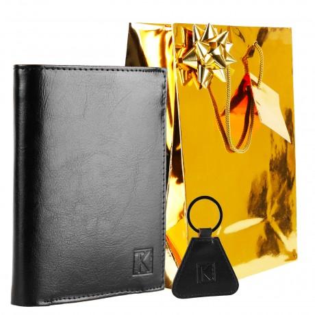 PACK Cadeau Portefeuille homme cuir marron + porte-clés + emballage TK, Noël Anniversaire