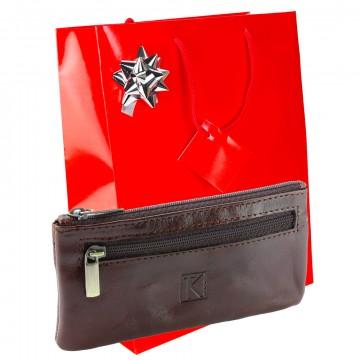 Pack Noel / 2 EN 1 Porte-monnaie/porte-clés 100% cuir TK074 MARRON Achat/cadeau utile