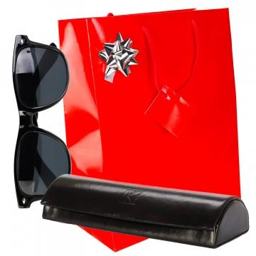 Pack Cadeau Femme / étui à lunettes cuir noir TK 1979 / Noel Anniversaire