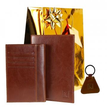 Portefeuille DUO + Porte-clés + Emballage - 100% Cuir - Pack CADEAU Homme - Noel Anniversaire