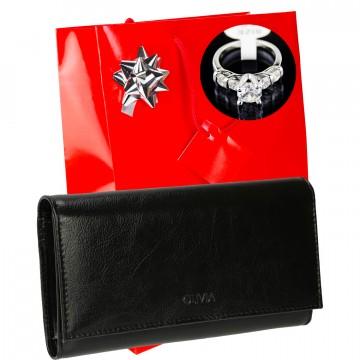 Idée cadeau femme / Portefeuille cuir OL250 + Bague + Emballage / Noel Anniversaire