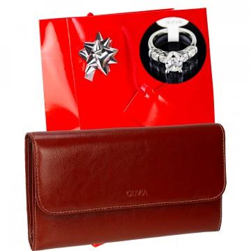 Portefeuille femme cuir OL251 / 20 CM + Bague + Emballage, idée cadeau de Noël