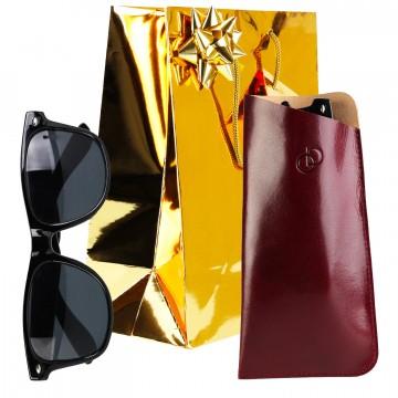 """PACK NOEL / Etui à lunettes """"CLASSIC"""" 100% CUIR + lunettes + accessoires + emballage"""