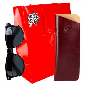 """Pack Cadeau Noel """"CLASIK n°1"""" 100% CUIR, étui à lunettes de vue + lunettes + accessoires + emballage"""