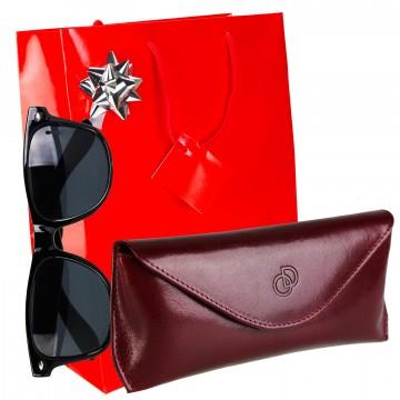 """Cadeau Noel / Étui lunettes """"COPERTA"""" 100% CUIR 17 x 7 cm plus accessoires + lunettes + emballage / Homme Femme"""
