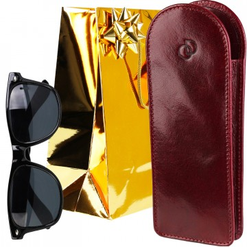 Idée cadeau Noel / étui à lunettes, cuir véritable, 18 x 7 cm + Accessoires + Lunettes