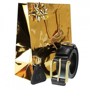 Cadeau noel homme / Ceinture cuir noir Taille 120 CM + Porte-cles + Emballage