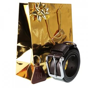 Ceinture en cuir marron, ajustable 120 cm + Emballage + Porte-clés / Cadaeu pour homme