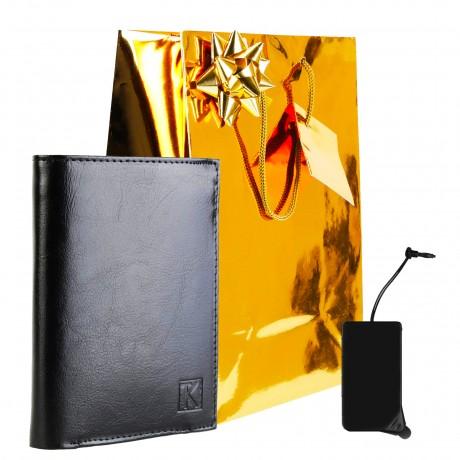 Portefeuille cuir noir TK243 / PACK cadeau Noël, une Fête, un Anniversaire