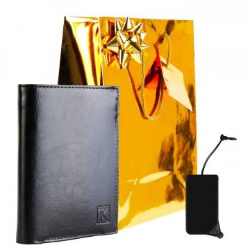 Portefeuille cuir noir TK242 + CADEAU / Noël, une Fête, un Anniversaire