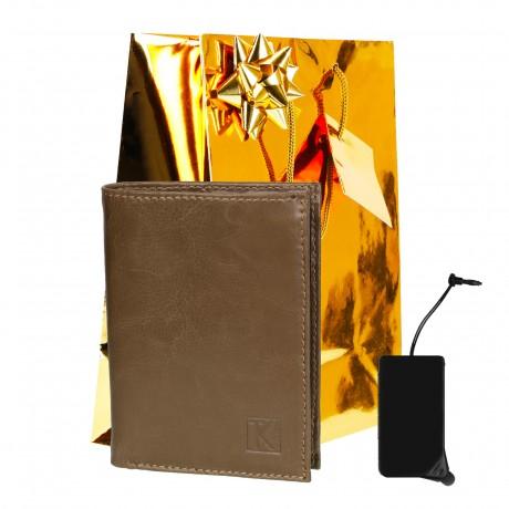 Coffret Cadeau / Portefeuille cuir beige TK263 / PACK Noël, une Fête, un Anniversaire