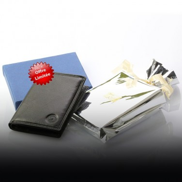 GRAND CLASSIQUE Portefeuille en cuir NOIR N1282 - Grand Portefeuille Homme PACK cadeau Noël. une fête. un anniversaire