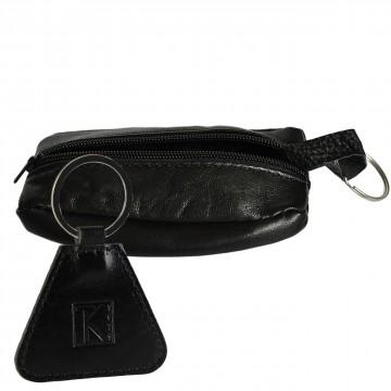 Porte-Monnaie Homme - Cuir véritable - Noir - pour Poches Pantalon ou Veste / Porte-clés TK1979