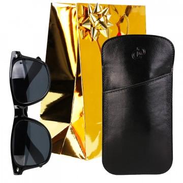 Idée cadeau / Étui à lunettes en cuir véritable 17,5 x 9 cm. + Accessoires + Emballage Noel