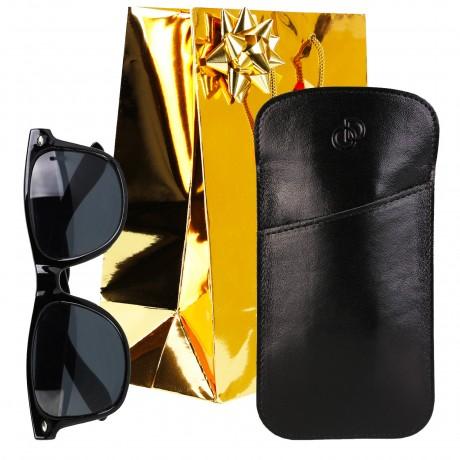 Idée cadeau / Étui à lunettes en cuir véritable
