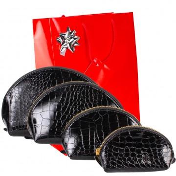 Lot 4 trousses de voyage / toilette cosmétique simili cuir croco noir N2949 - Idée cadeau noel