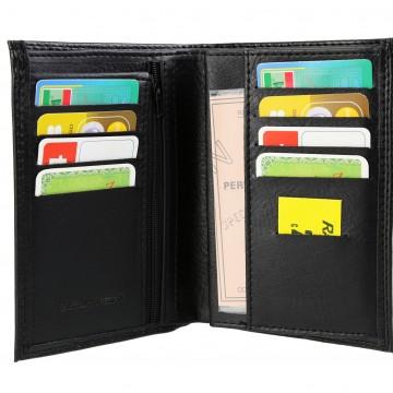 Portefeuille pas chers, simili noir N3057 format carte grise, avec porte-cles en cuir