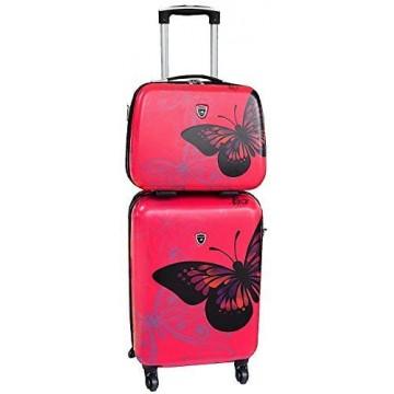 Valise Cabine Rose avec son Vanity assorti motif Papillon