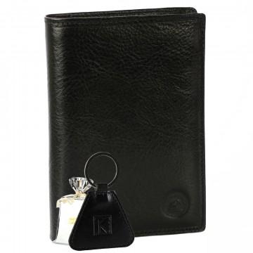 GRAND CLASSIQUE Portefeuille en cuir NOIR N1328+PCTK - Grand Portefeuille Homme PACK cadeau Noël. une fête. un anniversaire