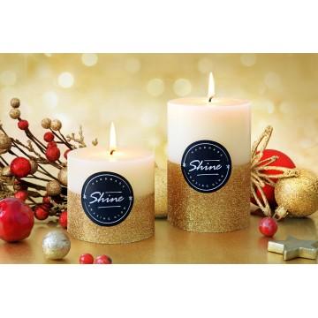 """Bougies """"SHINE Noel""""Lot 2 PCS Bougies décoratives Dcru-D'or"""