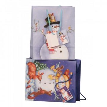 Sac cadeau avec bonhomme de neige 18x10,2x23cm, 2